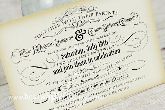 Vintage Wedding Invitation  Printable  DIY  The by HeSawSparks, $35.00