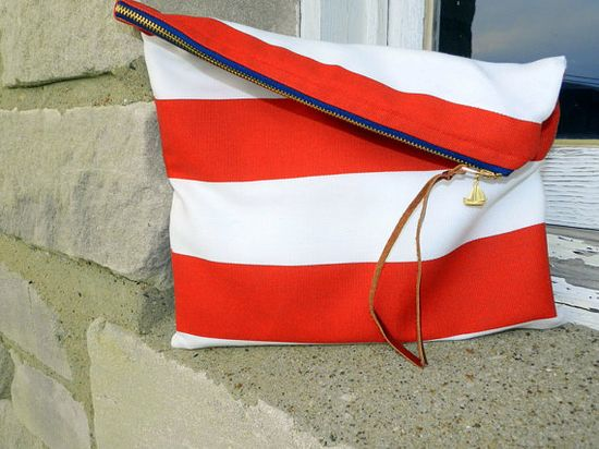 Striped Sailing Clutch. i need this.