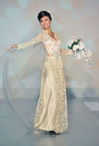 pretty white lace ao dai with open collar
