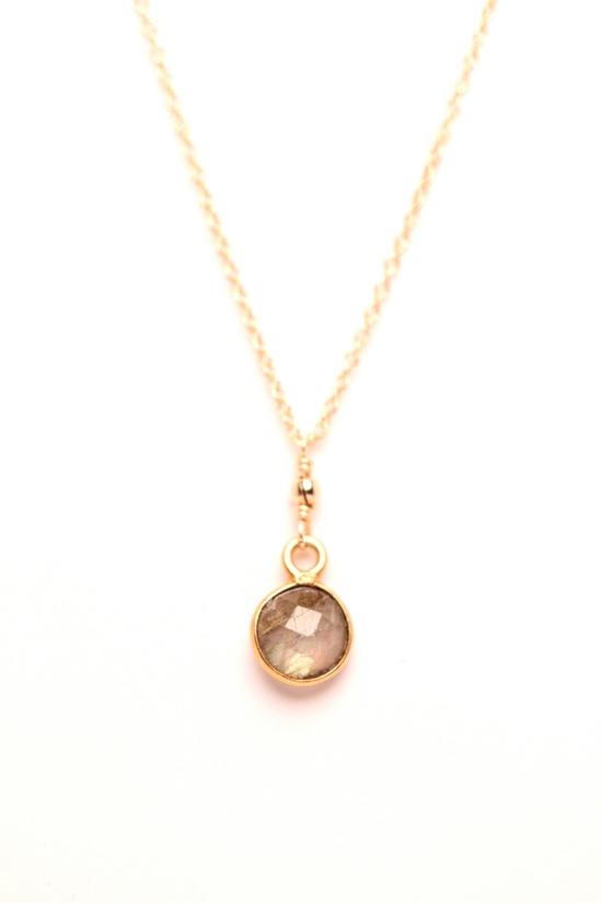 Labradorite necklace - Minimalist necklace - Tiny gemstone necklace - Gold gem necklace. $32.00, via Etsy...wish it wasn't gold.