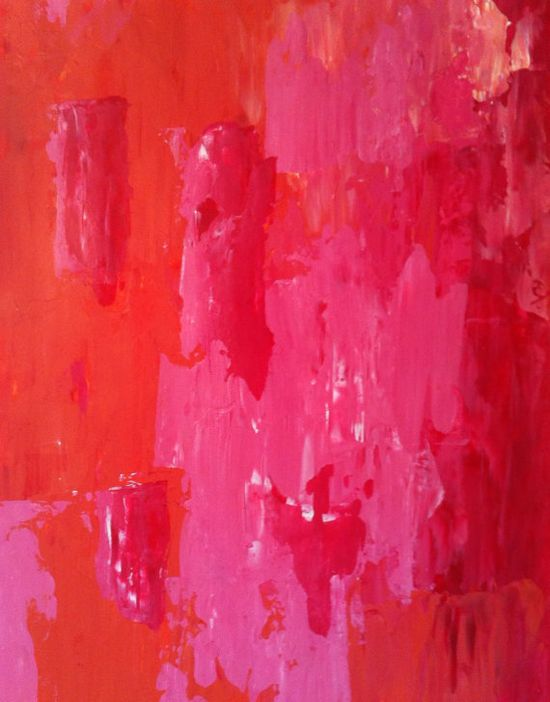 Abstract Art Painting Orange Pink White Red Peach on Etsy