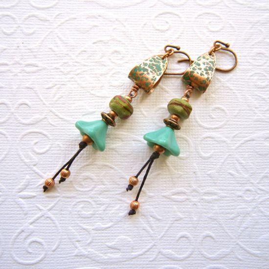 Copper beaded earrings lampwork earrings long by THEAjewellery, £25.00