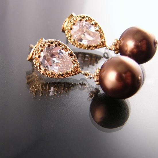 antique bronze pearl earrings