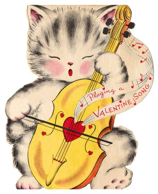 Playing a Valentine Song - Vintage Valentine Kitty ? ? ?