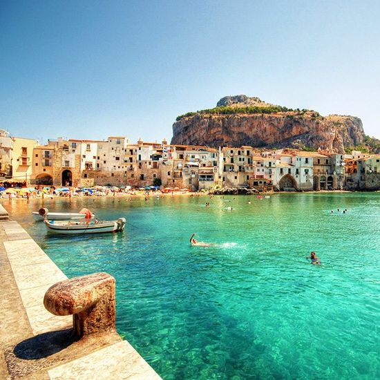 Cefalu, Sicily #italy #beach #blue #green #swimming #water #paradise #sicily #Cefalu