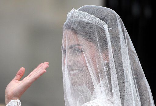 Catherine Middleton arrives at Westminster Abbey, 29 April 2011.