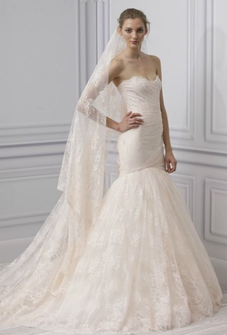 Take a close look ladies--it's pink! Monique Lhuillier Spring 2013. That veil is amazing!