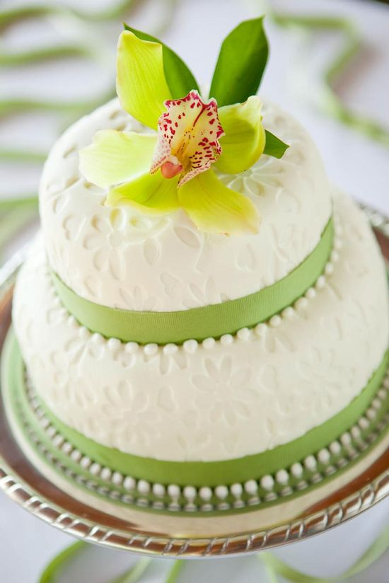 Wedding cake with green accents
