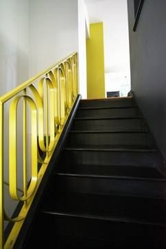 #BLACK #STAIRCASE WITH #YELLOW #BANISTER #interior #design