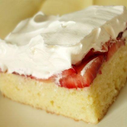 Strawberries and Cream Icebox Cake-using 4 ingredients:  white cake mix, whipped cream, strawberries, and condensed milk.