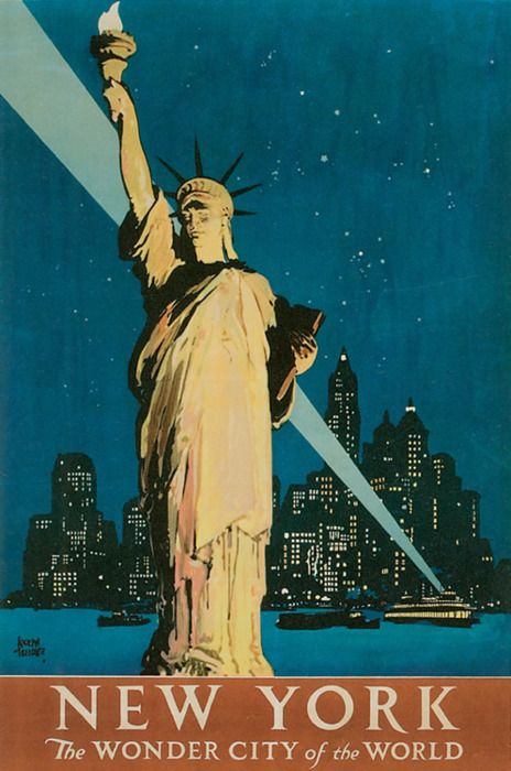 #Bright lights... New York, the wonder city of the world - #vintage #travel #poster #USA  #Travel Posters multicityworldtra... We cover the world over 220 countries, 26 languages and 120 currencies Hotel and Flight deals.guarantee the best price