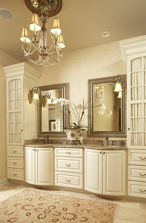 Beautiful bathroom. Love the storage.