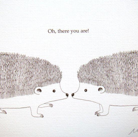 Print of Original Ink Drawing Illustration Hedgehog by mikaart, $9.99