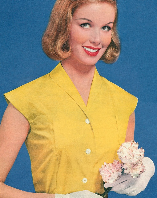 Detail from the cover of Woman magazine, week ending 23rd March, 1957. #vintage #1950s #fashion