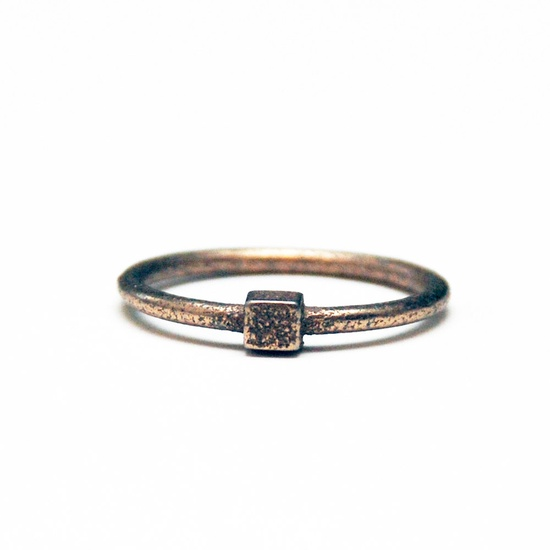 Thin Silver Minimalist Cube Stacking Ring.