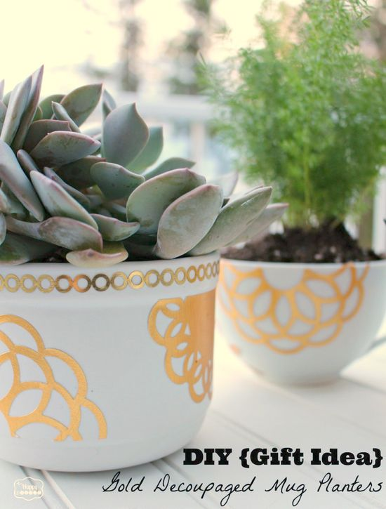 DIY Gift Idea Gold Decoupaged Mug Planters
