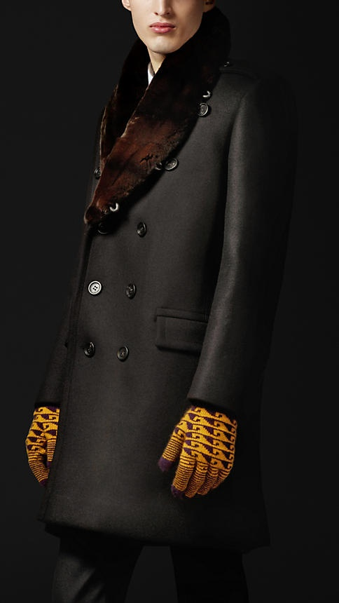 Burberry Prorsum Autumn/Winter 2012 fur collar oversize wool pea coat