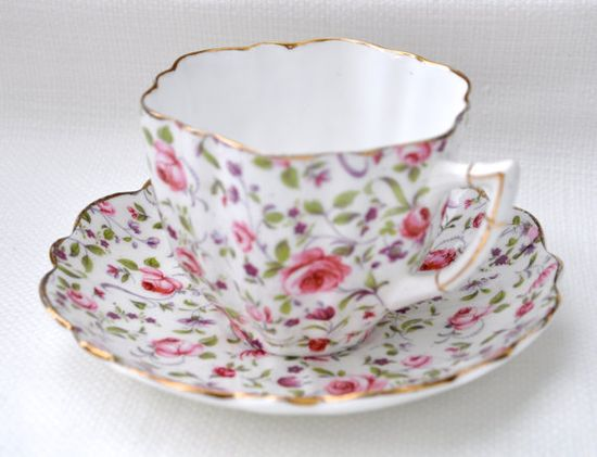 Victoria Chintz China Teacup and Saucer by C Bone China.