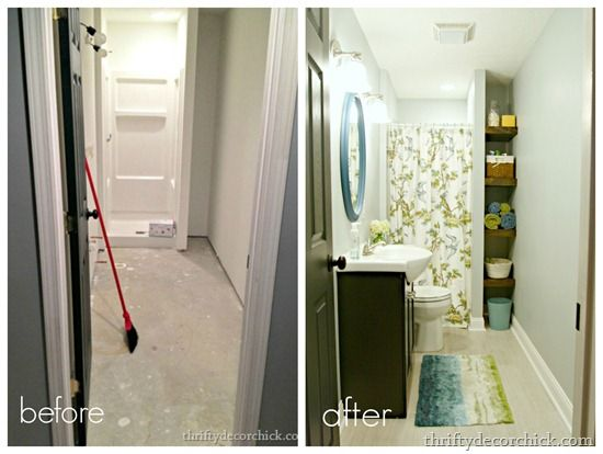 Our bright basement bathroom...before and after