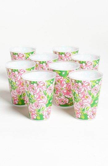 Cups with style: Lilly Pulitzer Floral Print Reusable Party Tumblers (Set of 8)