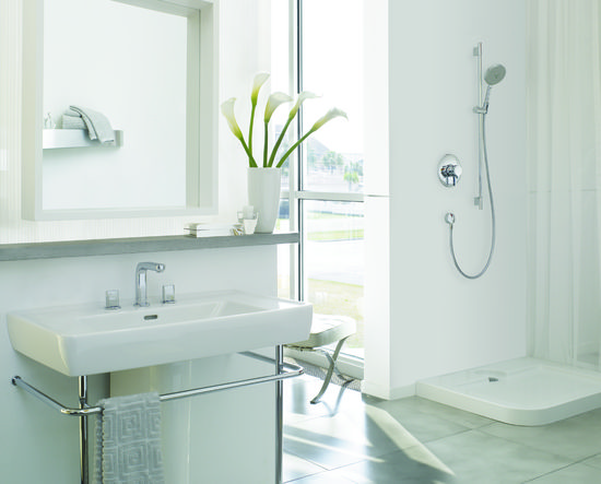 white, bathroom, interior, featuring Hansgrohe