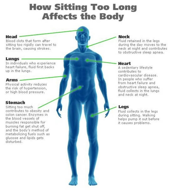 How sitting to long affect the body