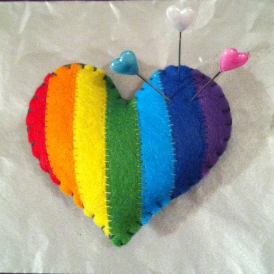 Rainbow Felt Heart Pincushion / Plushie  by DarnedLovely on Etsy, £5.00