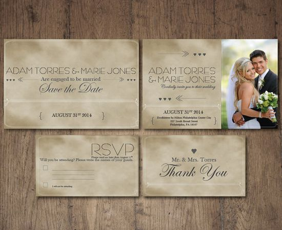 Wedding Invitation Suite Printable Custom DIY Do It Yourself Photo Elegant Vintage on Etsy, $25.00