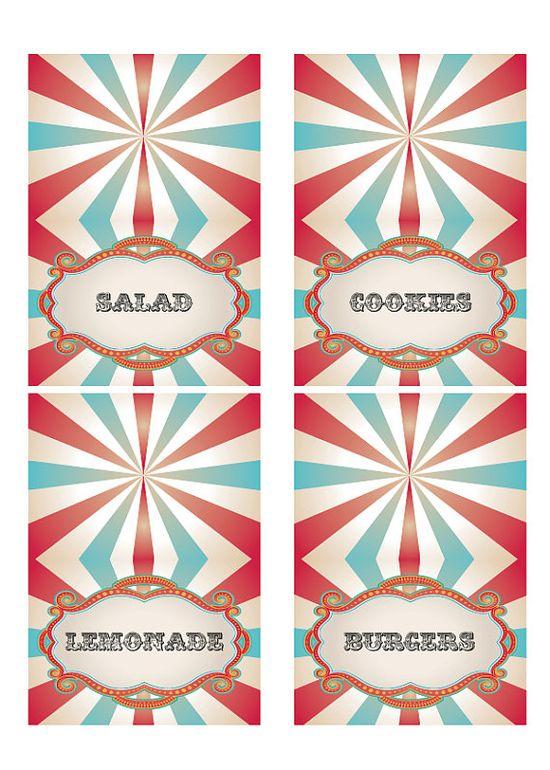 DIY Printable Vintage Carnival Circus Food by loralangdesigns, $5,00
