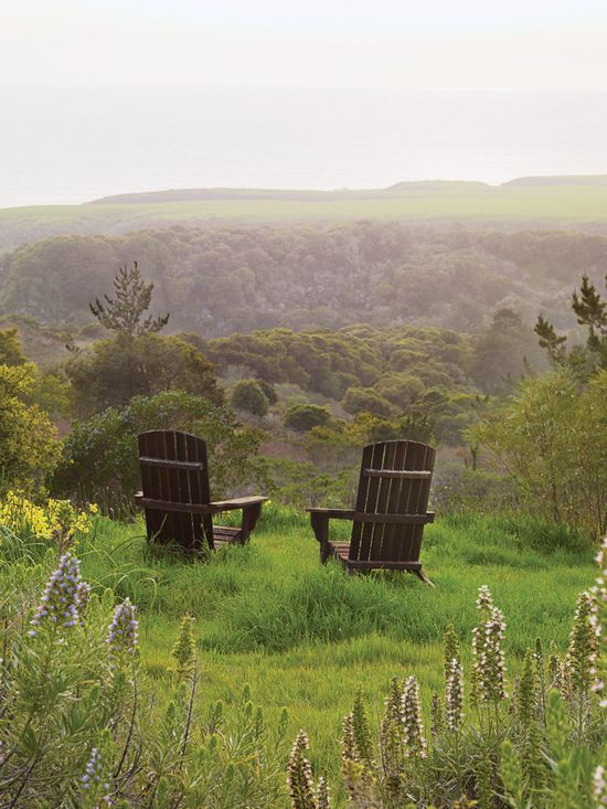 Two rustic chairs take in the view of this lush garden....