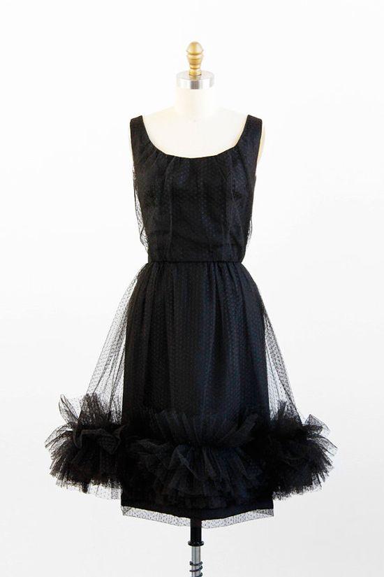 vintage 1950s dress / 50s black dress / Black Polkadots Sheer Ruffle Cocktail Dress