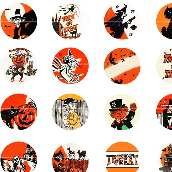 Vintage Halloween Graphics 1'' circle