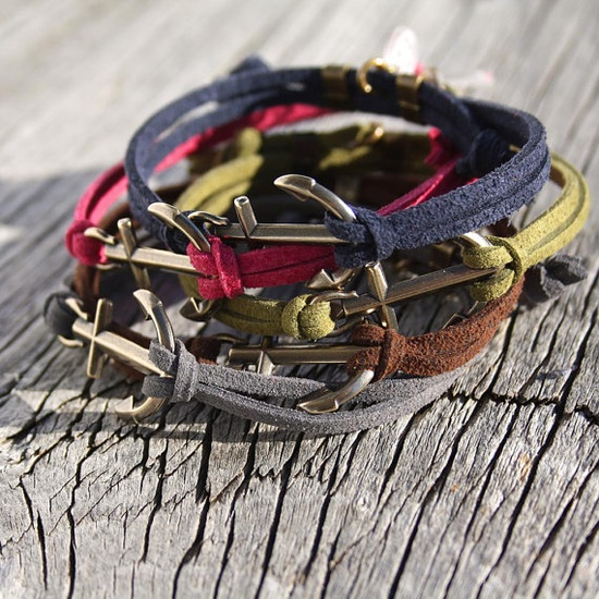 Nautical anchor bracelet waterproof suede with brass by byMarisSal, $18.00
