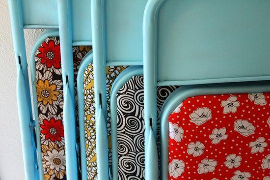 DIY ~ Spray paint & fabric = redo card table & chairs!!