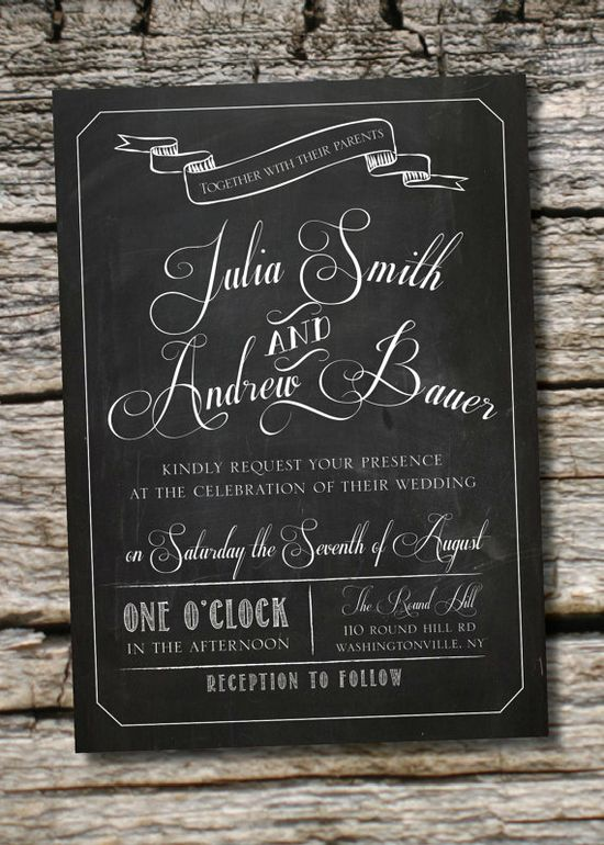 VINTAGE BLACKBOARD Chalkboard Poster Wedding Invitation/Response Card - 100 Professionally Printed Invitations & Response Cards I am loving chalkboard themes - could tie into menu cards, table numbers