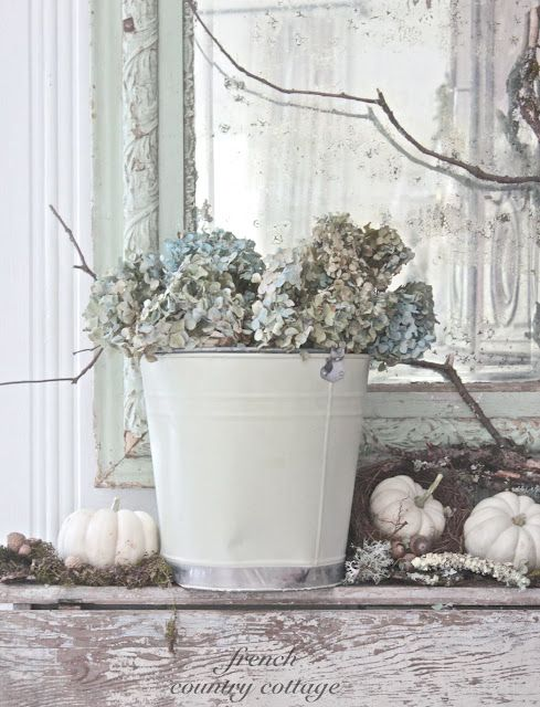 Dried hydrangeas via French Country Cottage.
