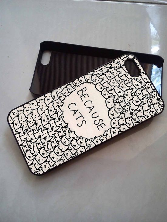 Because Cats iPhone 5C Case, iPhone 5/5S Case, iPhone 4/4S Case, Durable Hard Case on Etsy, $16.00