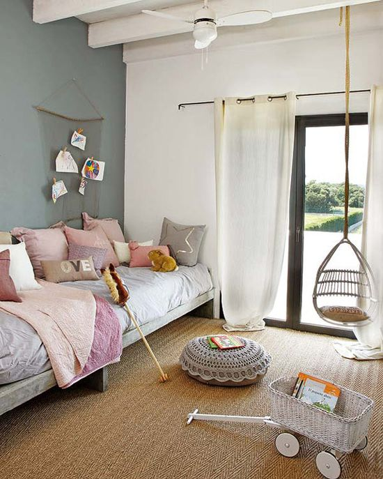 neutral, gray & soft pink girl's bedroom - similar to what I have already...LOVE the swing and the crochet-topped pouf!