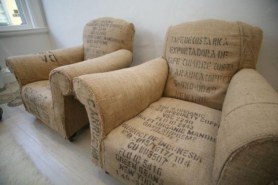 burlap bag covered chairs! fabulous!