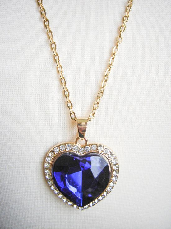 Blue Crystal Golden Heart Necklace  Golden by DahliasAccessories, $8.00 #Jewelry #Gift