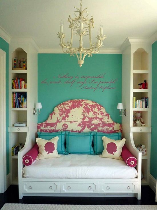 This is a cool space saver; to do a twin bed but sideways so you still get the full headboard wow factor.