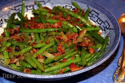 Sweet and Sour Green Beans - Green beans quickly blanched, then tossed in a sweet and sour mix of vinegar and sugar, a few seasonings and bacon, make up this old fashioned spicy, tangy dish.