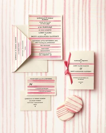 Sweet pink striped invites