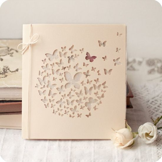 Butterflies #album #cover #card #punch #cutout #diecut #diy #neutral #pale #ivory #layout #bow