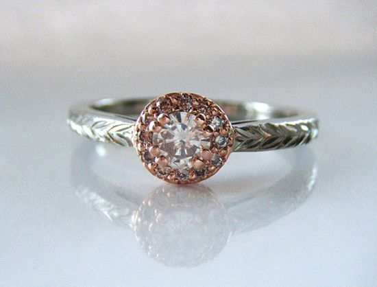 Champagne Diamond Halo Engagement Ring Rose by adamfosterjewelry, $1480.00