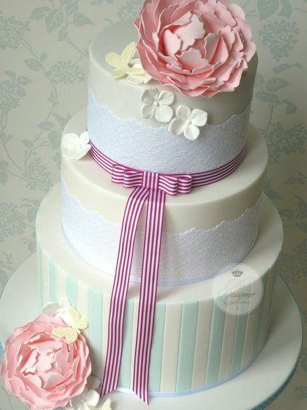 Candy stripe wedding cake