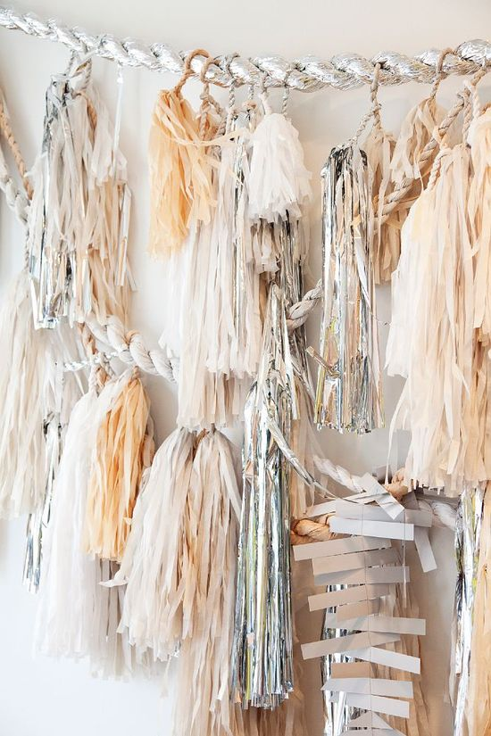 Party Fringe - Silver and Peach tassle garland