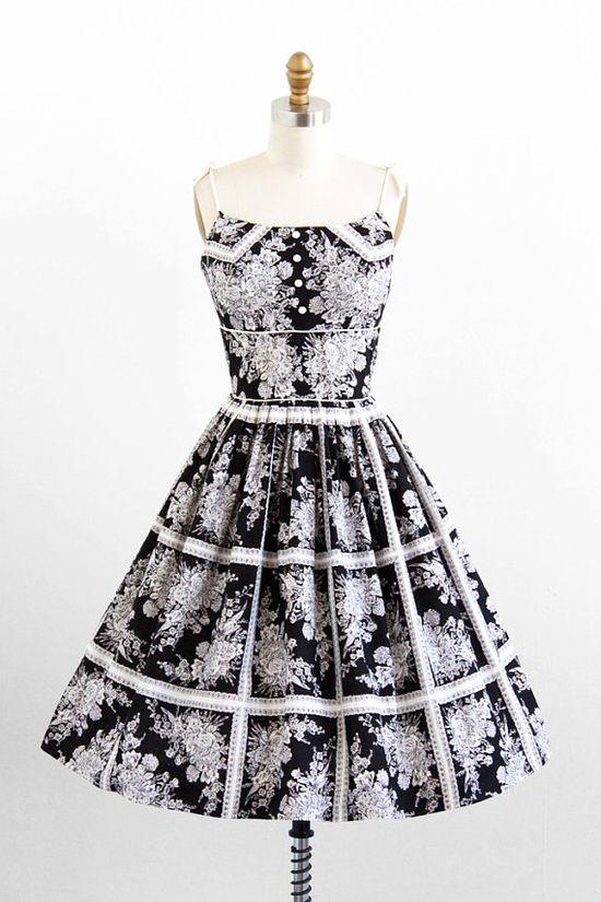 vintage 1950s black + white floral cotton sundress
