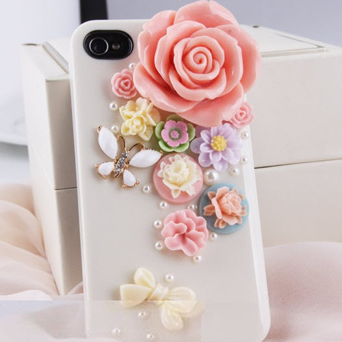 Flowers with Butterfly Handmade Case for iPhone DIY Phone Shell Deco Den Kits