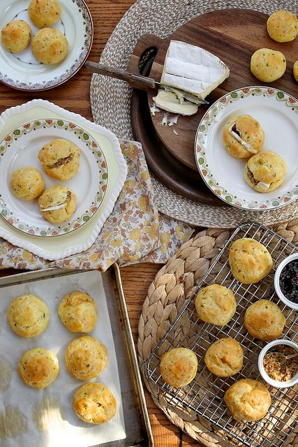 Fresh Herb and Gruyere Cheese Puffs by joy the baker, via Flickr. Savory profiteroles. This just happened.